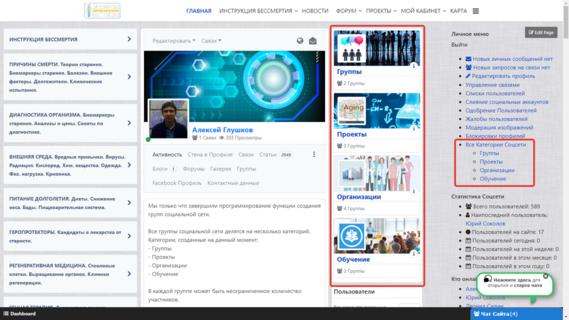 Создание групп и категорий социальной сети завершено!